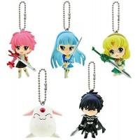 01-90728 Bandai Magic Knight Rayearth Figure Mascot Swing Keychain - Set of 5