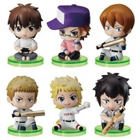01-97116 Ace of Diamond Baseball Suwarase Team Sitting Mini Figures Capsule Toy 400y - Set of 6