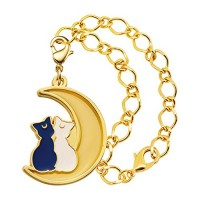 01-97187 Sailor Moon Stained Charm Locket with Clasp 300y - Luna and Artemis with Bracelet Chain