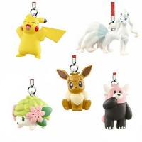 02-87309 Pokemon Netsuke Sun & Moon Mascot Strap Part 3 200y - Set of 5