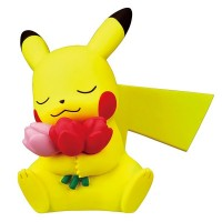 02-87420  Pokemon Sun & Moon Pokapoka Biyori Ideal Warm Day Flower Themed Mini Figure 300y - Pikachu