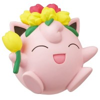 02-87420  Pokemon Sun & Moon Pokapoka Biyori Ideal Warm Day Flower Themed Mini Figure 300y - Jigglypuff