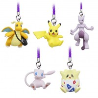 02-87674 Pokemon Netsuke Mascot Mewtwo Strikes Back Evolution Figure Mascot Strap 200y - Set of 5