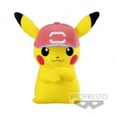 02-37361 Banpresto Pokemon Sun and Moon Plush Pikachu with Ash's Red Cap
