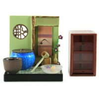 "SR-64180 Wa no Takumi Tea Room Mini Furniture Trading Figure - Indoor Backdrop - Blue Pot with Water Ladel (2"" Scene)"