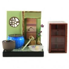 "SR-64180 Wa no Takumi Tea Room Mini Furniture Trading Figure - Indoor Backdrop - Blue Pot with Water Ladel (2"" Scene)"
