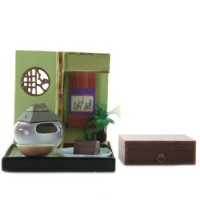 "SR-64180 Wa no Takumi Tea Room Mini Furniture Trading Figure - Indoor Backdrop - White Vase with Roof (2"" Scene)"