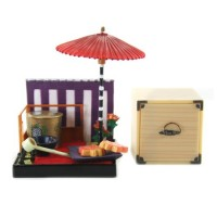 "SR-64180 Wa no Takumi Tea Room Mini Furniture Trading Figure - Outdoor Backdrop - Orange Stars (2"" Scene)"