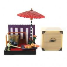 "SR-64180 Wa no Takumi Tea Room Mini Furniture Trading Figure - Outdoor Backdrop - Orange Stars (2"" Scene)"