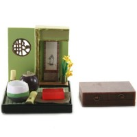 "SR-64180 Wa no Takumi Tea Room Mini Furniture Trading Figure - Indoor Backdrop - Pink/Green/Brown Striped-Pot (2"" Scene)"
