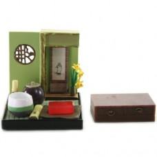 "SR-64180 Wa no Takumi Tea Room Mini Furniture Trading Figure - Indoor Backdrop - Pink/Green/Brown Striped-Pot (2"" Scene)"