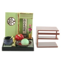 "SR-64180 Wa no Takumi Tea Room Mini Furniture Trading Figure - Indoor Backdrop - Red Orb (2"" Scene)"