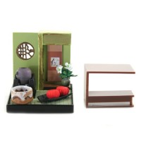 "SR-64180 Wa no Takumi Tea Room Mini Furniture Trading Figure - Indoor Backdrop - Two Pink Gords (2"" Scene)"