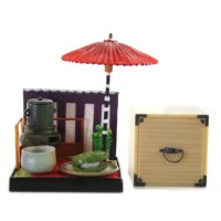 "SR-64180 Wa no Takumi Tea Room Mini Furniture Trading Figure - Outdoor Backdrop - White Food Wrapped in a Green Leaf (2"" Scene)"