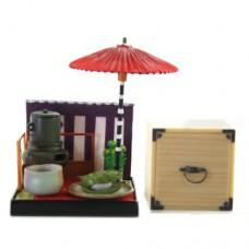 "SR-64180 Wa no Takumi Tea Room Mini Furniture Trading Figure - Outdoor Backdrop - White Food Wrapped in a Green Leaf (2"" Scene)"