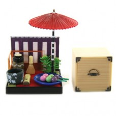 "SR-64180 Wa no Takumi Tea Room Mini Furniture Trading Figure - Outdoor Backdrop - Three Color Balls-on-a-Stick (2"" Scene)"