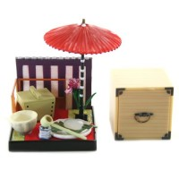 "SR-64180 Wa no Takumi Tea Room Mini Furniture Trading Figure - Outdoor Backdrop - Picnick Basket (2"" Scene)"