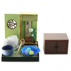 "SR-64180 Wa no Takumi Tea Room Mini Furniture Trading Figure - Indoor Scene - Blue-Dish with 3 Green Balls (2"" Scene)"